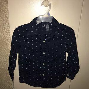 Boys 5/6 Nautica button down shirt, navy blue